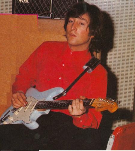 John Lennon with his 1961 Fender Stratocaster Guitar (The Beatles)
