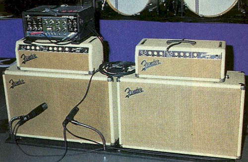 Brian Setzer's Blonde Brownface Fender Bassman 6G6-B Amps setup with Roland Space Echo
