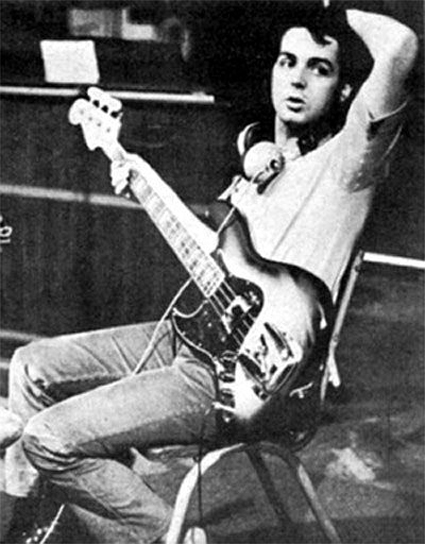 Paul McCartney with his 1966 Fender Jazz Bass