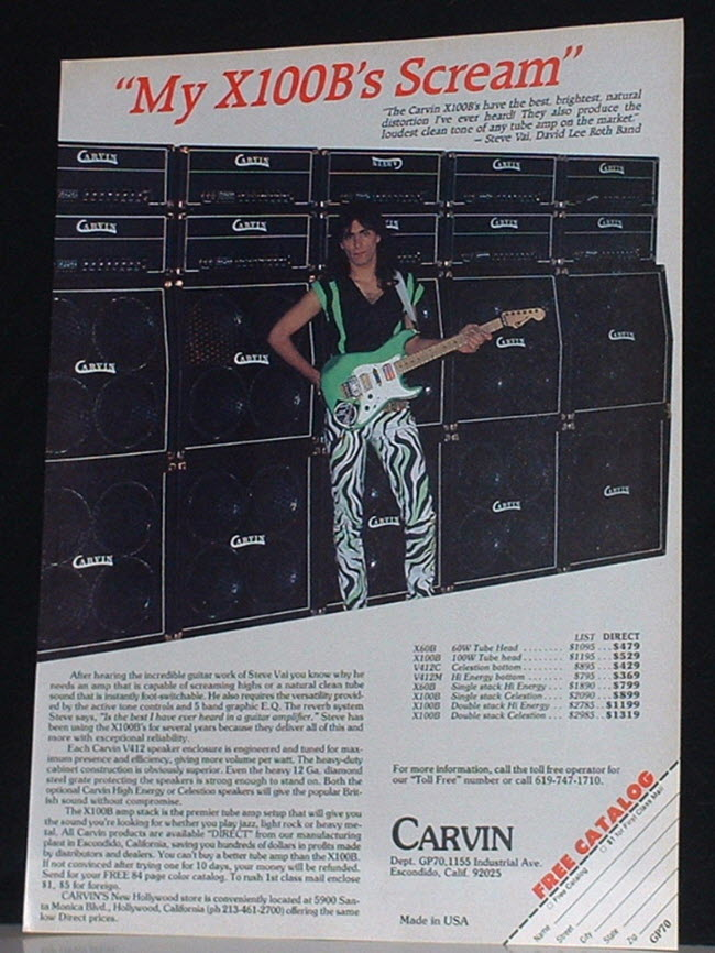 Steve Vai & the Carvin X100B Amp (1986)