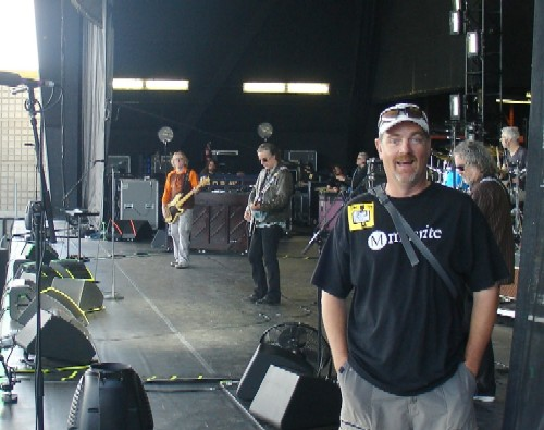 Mike Robinson on stage during the R.E.M. soundcheck