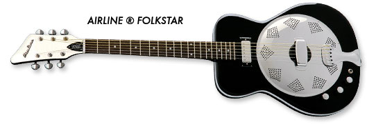 Airline Folkstar Resophonic Guitar (Black, Left-Handed)