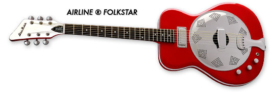 Airline Folkstar Resophonic Guitar (Red, Left-Handed)