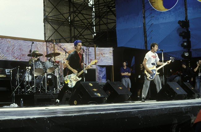 Billie Joe Armstrong on-stage at Woodstock 1994 with his 'Dookie' modified Marshall Super Lead