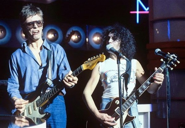 David Bowie, Strat and Marc Bolan.