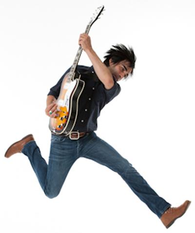 Super Satellites' Christian Olguin (Airline Tuxedo Guitar)