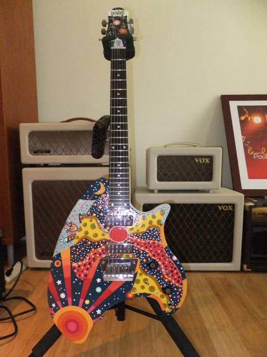 Custom Painted Eastwood Breadwinner Guitar