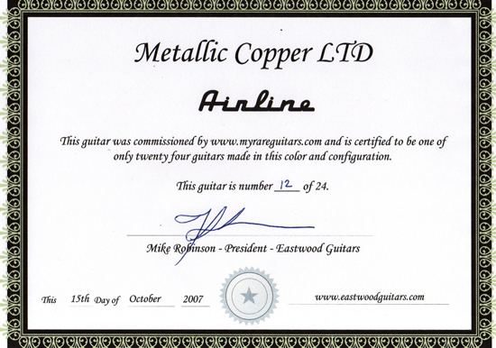 Eastwood Airline 2P Limited Edition Electric Guitar (Metallic Copper)