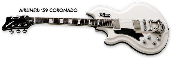 Airline '59 Coronado Electric Guitar (White, Left-Handed)
