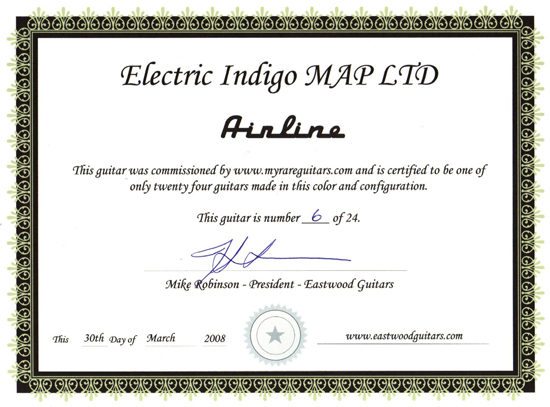 Eastwood Airline Map Limited Edition Electric Guitar (Electric Indigo)