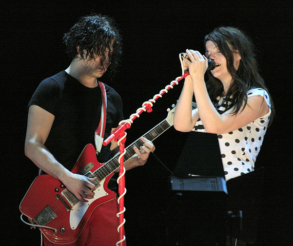 Jack White with his 1964 JB Hutto Montgomery Ward Airline Guitar