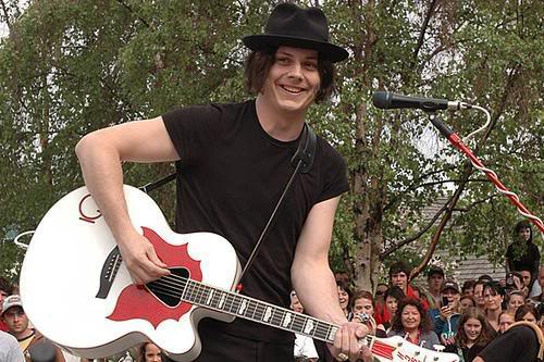 Jack White with his Gretsch G6022CWFF Rancher Falcon Cutaway Acoustic Guitar