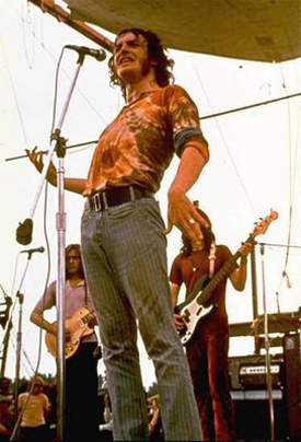 Joe Cocker at Woodstock (Fender Precision Bass Guitar in background)