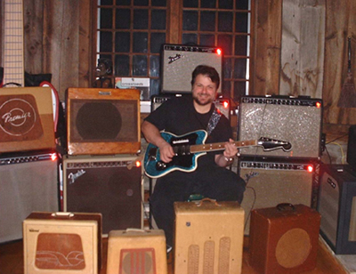 Joey Leone with his amps
