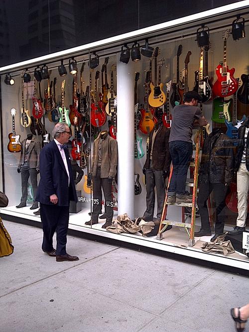 John Varvatos Bloomingdales Window Display Features 100 Eastwood Guitars