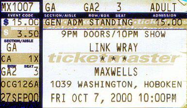 Link Wray concert ticket (October 2000)