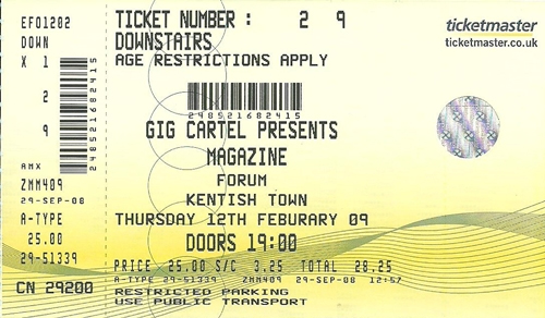 Magazine Reunion Tour 2009 concert ticket