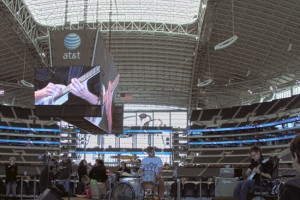 Slow Static's Matt Plummer with his Eastwood Breadwinner Guitar at Dallas Cowboys Stadium