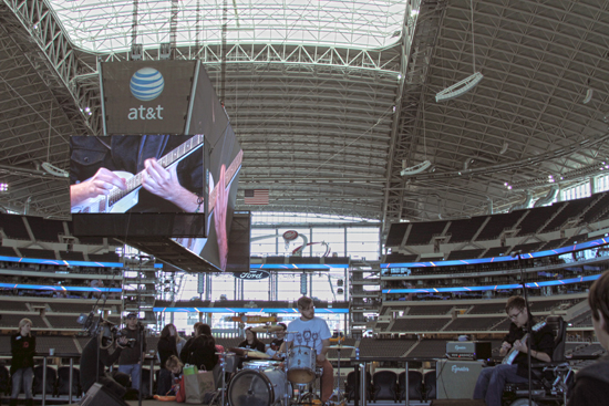 Slow Static's Matt Plummer with his Eastwood Breadwinner Guitar at Dallas Cowboys Stadium