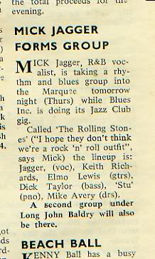 Mick Jagger forms group (newspaper clipping)