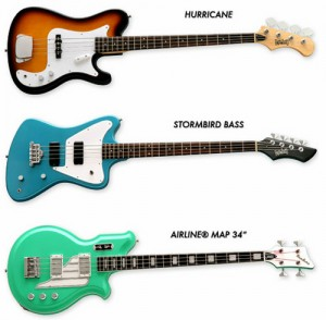 "New 34"" Scale Electric Bass Models from Eastwood Guitars & Airline Guitars"
