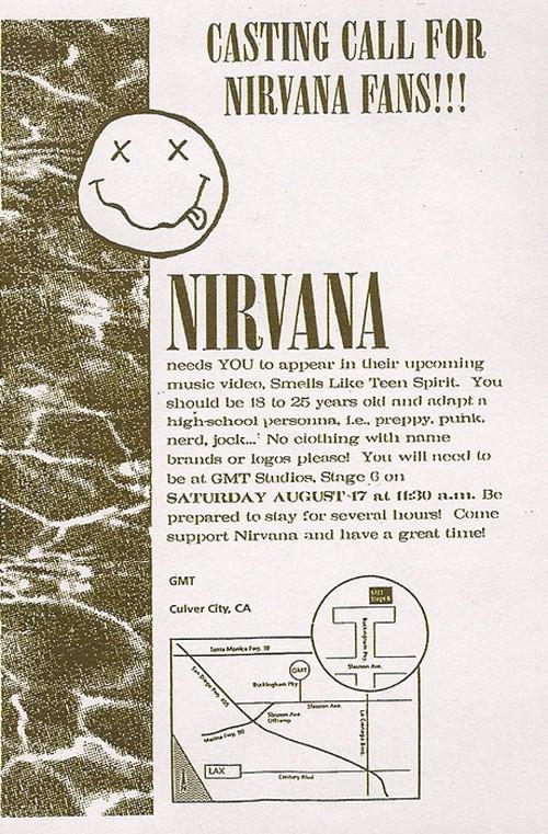 Nirvana video casting call flier for 'Smells Like Teen Spirit' video (1991)