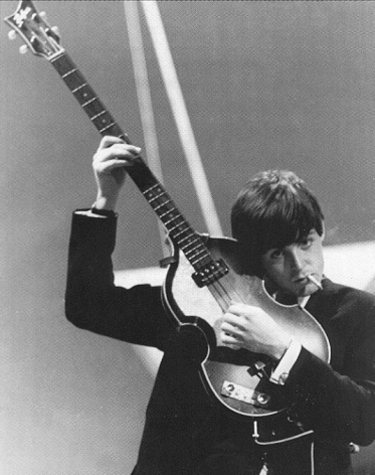 Paul McCartney with his 1963 Hofner Model 500/1 Bass Guitar