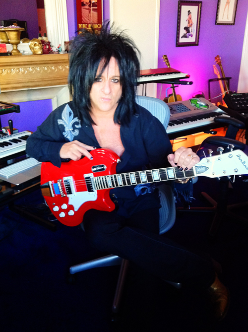 Steve Stevens in the studio with his Airline Coronado