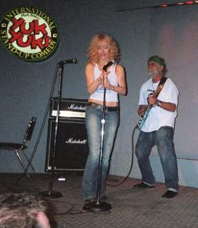 Tommy Chong on stage at Yuk Yuk's in London, Ontario (Jan. 2005)