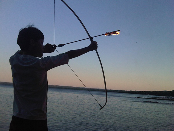 Troy decided it would be cool to put a masrhmellow on the end of an arrow and fire it out into Georgian Bay