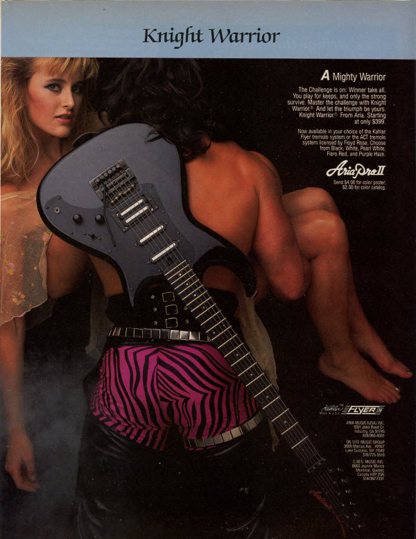 Vintage 1985 Aria Pro II Knight Warrior Electric Guitar Ad