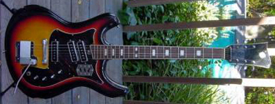 Vintage 1970's Silvertone Mosrite Electric Guitar