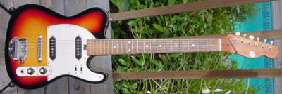Vintage 1970's Silvertone Telecaster Electric Guitar